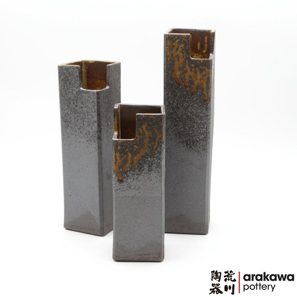 Handmade Ceramic Ikebana Container: Shino & Wood Ash Glaze Nageire Cylinder (Tsu Tsu) Ikebana container  made of Dark Brown Stoneware by Kathy Lee-Arakawa at Arakawa Pottery