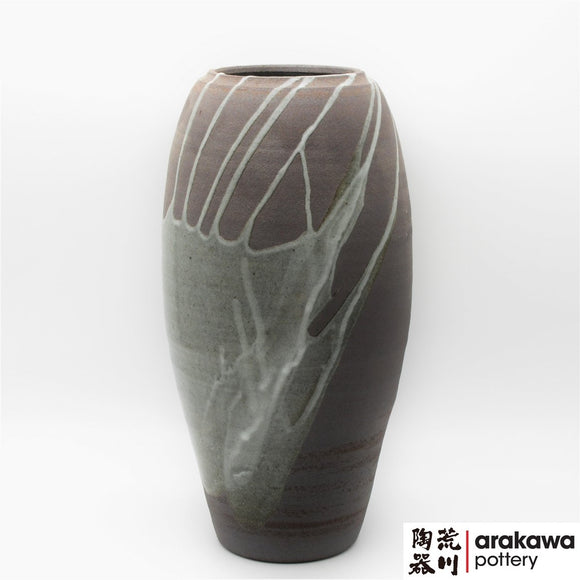 Handmade Ceramic Ikebana Container: Gray glaze with Drip Nageire Vase Ikebana container  made of Dark Brown Stoneware by Thomas Arakawa at Arakawa Pottery