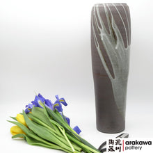 Load image into Gallery viewer, Gray glaze with Drip Nageire Vase Ikebana container made of Dark Brown Stoneware by Thomas Arakawa at Arakawa Pottery