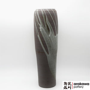 Gray glaze with Drip Nageire Vase Ikebana container made of Dark Brown Stoneware by Thomas Arakawa at Arakawa Pottery