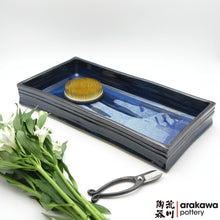 Load image into Gallery viewer, Navy & Flambe Glaze Suiban for Moribana Ikebana container made of Bravo Buff Stoneware by Thomas Arakawa and Kathy Lee at Arakawa Pottery