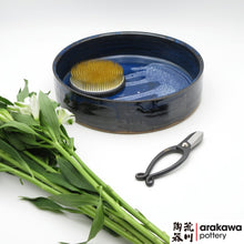Load image into Gallery viewer, Navy & Flambe Glaze Suiban for Moribana Ikebana container made of Bravo Buff Stoneware by Thomas Arakawa at Arakawa Pottery