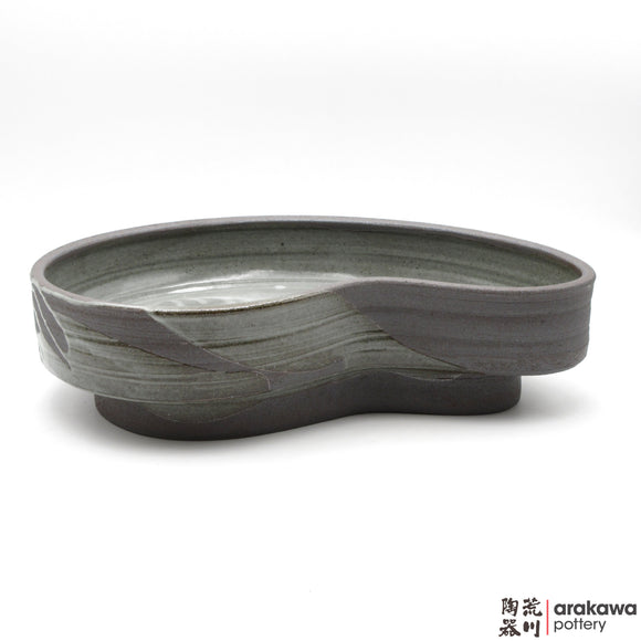 Handmade Ceramic Ikebana Container: Kidney Bean Compote, Clear Drip glaze - 1127 – 012 made by Thomas Arakawa and Kathy Lee-Arakawa at Arakawa Pottery