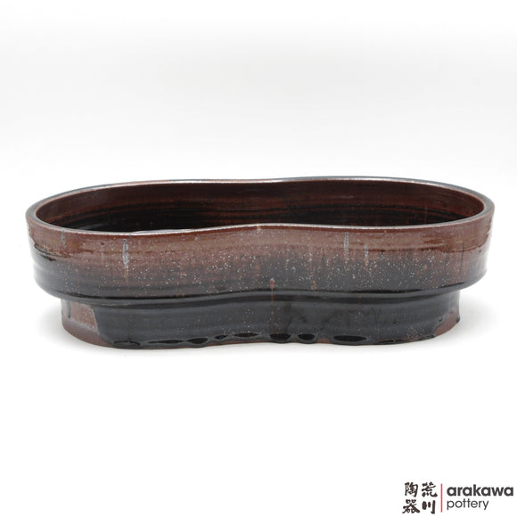 Handmade Ceramic Ikebana Container: Peanuts Compote, Black Tenmoku glaze - 1127 – 023 made by Thomas Arakawa and Kathy Lee-Arakawa at Arakawa Pottery