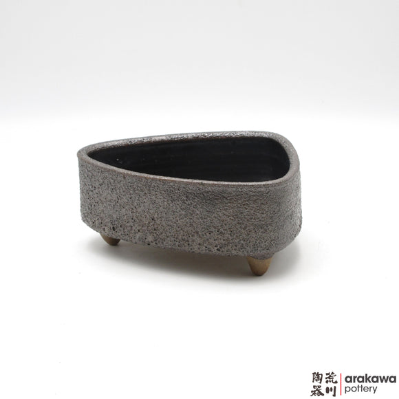 Handmade Ceramic Ikebana Container: Onigiri, black Lava glaze - 1127 – 028 made by Thomas Arakawa and Kathy Lee-Arakawa at Arakawa Pottery