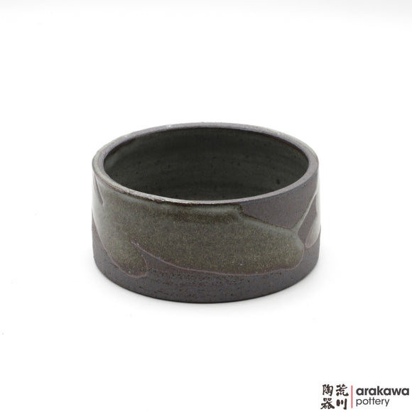 Handmade Ceramic Ikebana Container: mini Suiban, Wood Ash glaze - 1127 – 037 made by Thomas Arakawa and Kathy Lee-Arakawa at Arakawa Pottery