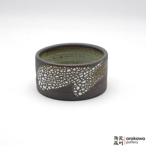 Handmade Ceramic Ikebana Container: mini Suiban, Crackle glaze - 1127 – 040 made by Thomas Arakawa and Kathy Lee-Arakawa at Arakawa Pottery