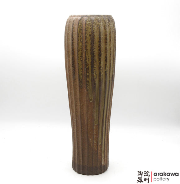 Handmade Ceramic Ikebana Container: Fluted Slender Vase , Wood Ash glaze - 1127 – 045 made by Thomas Arakawa and Kathy Lee-Arakawa at Arakawa Pottery