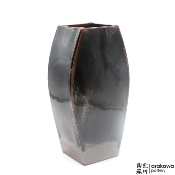 Handmade Ceramic Ikebana Container: Four-sides Vase, Black Tenmoku glaze - 1127 - 052 made by Thomas Arakawa and Kathy Lee-Arakawa at Arakawa Pottery