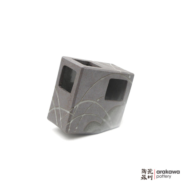 Handmade Ceramic Ikebana Container: 5 inch Slanted Square, Clear Swish glaze - 1127 - 062 made by Thomas Arakawa and Kathy Lee-Arakawa at Arakawa Pottery