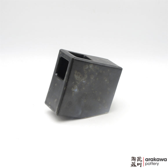 Handmade Ceramic Ikebana Container: 5 inch Slanted Square, Black and Chun glaze - 1127 - 066 made by Thomas Arakawa and Kathy Lee-Arakawa at Arakawa Pottery