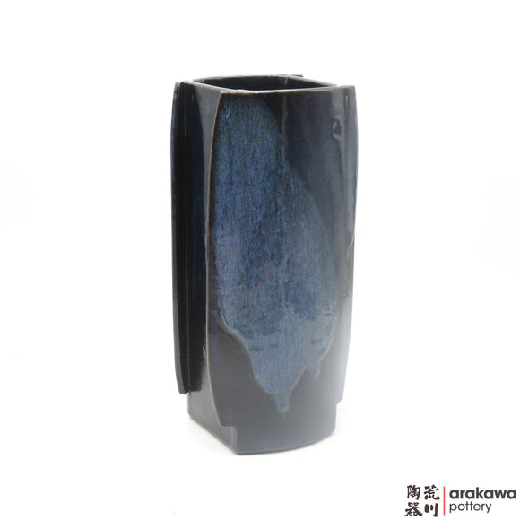 Handmade Ceramic Ikebana Container: Short Hagoita, Navy and Flambe glaze - 1127 - 082 made by Thomas Arakawa and Kathy Lee-Arakawa at Arakawa Pottery