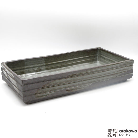 Handmade Ceramic Ikebana Container: Rectangular Suiban, Clear Drip glaze - 1127 - 088 made by Thomas Arakawa and Kathy Lee-Arakawa at Arakawa Pottery