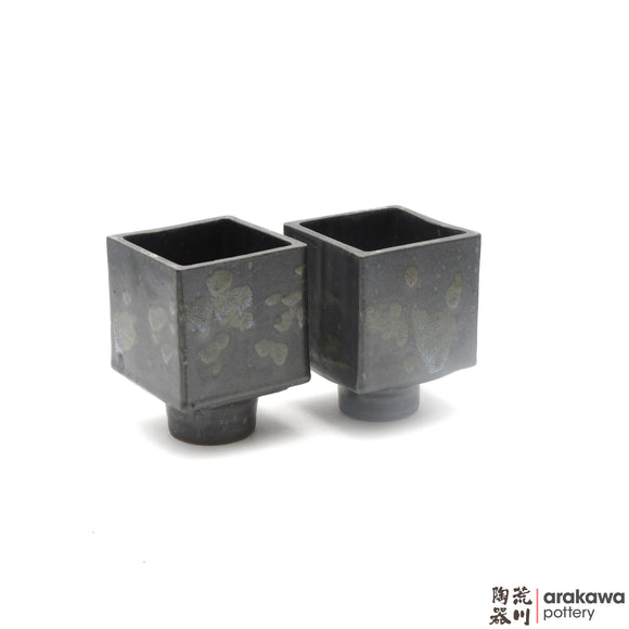 Handmade Ceramic Ikebana Container: 4 inch Cube Compote, Black and Chun glaze - 1127 - 098 made by Thomas Arakawa and Kathy Lee-Arakawa at Arakawa Pottery