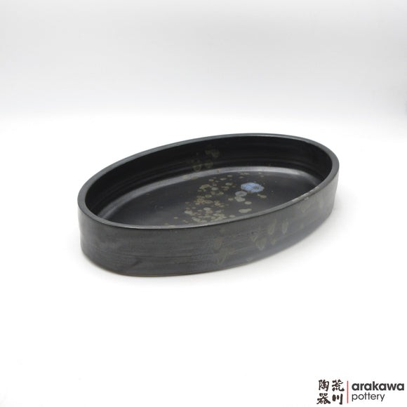 Handmade Ceramic Ikebana Container: Oval Suiban, Black  and Chun glaze - 1127 - 139 made by Thomas Arakawa and Kathy Lee-Arakawa at Arakawa Pottery