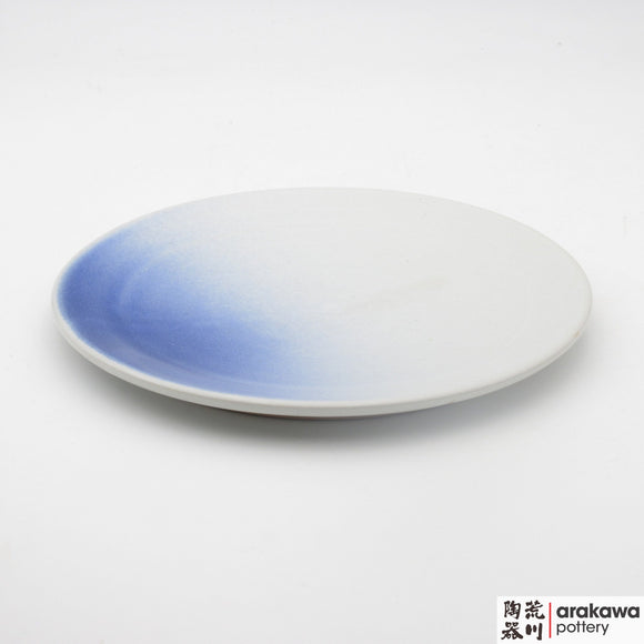 Handmade Ceramic Dinnerware: Round Platter (S), White and Blue Mist Glaze - 1224 - 004 made by Thomas Arakawa and Kathy Lee-Arakawa at Arakawa Pottery