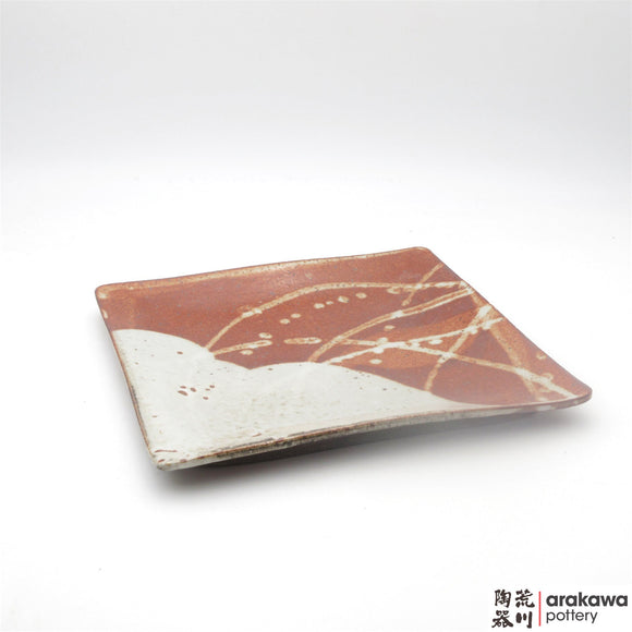 Handmade Ceramic Dinnerware: Square Plate with Foot (L), Shino Glaze - 1224 - 026 made by Thomas Arakawa and Kathy Lee-Arakawa at Arakawa Pottery
