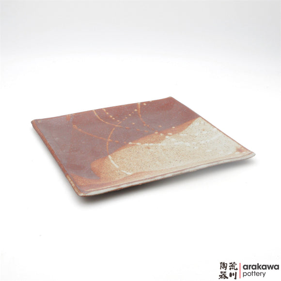 Handmade Ceramic Dinnerware: Square Plate (L), Shino Glaze - 1224 - 027 made by Thomas Arakawa and Kathy Lee-Arakawa at Arakawa Pottery