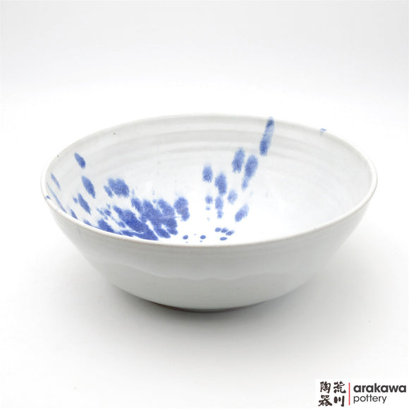 Handmade Ceramic Dinnerware: Serving Bowl (L), White with Blue Splash Glaze - 1224 - 033 made by Thomas Arakawa and Kathy Lee-Arakawa at Arakawa Pottery