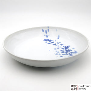 Handmade Ceramic Dinnerware: Pasta Bowl Serving (L), White with Blue Splash Glaze - 1224 - 037 made by Thomas Arakawa and Kathy Lee-Arakawa at Arakawa Pottery