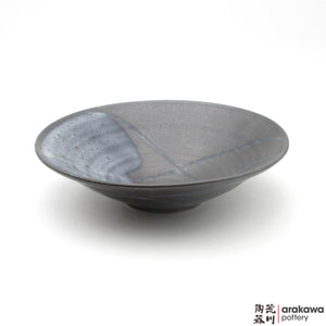 Handmade Ceramic Dinnerware: Ido Bowl (L), Black & Blue Swish Glaze - 1224 - 050 made by Thomas Arakawa and Kathy Lee-Arakawa at Arakawa Pottery