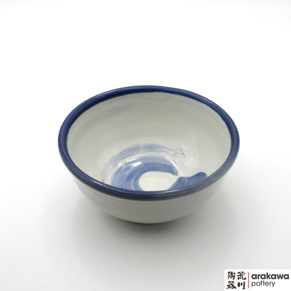 Handmade Ceramic Dinnerware: Ramen Bowl, White and Blue Circle Glaze - 1224 - 055 made by Thomas Arakawa and Kathy Lee-Arakawa at Arakawa Pottery
