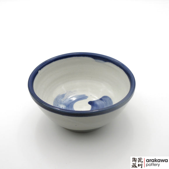 Handmade Ceramic Dinnerware: Ramen Bowl, White and Blue Circle Glaze - 1224 - 056 made by Thomas Arakawa and Kathy Lee-Arakawa at Arakawa Pottery