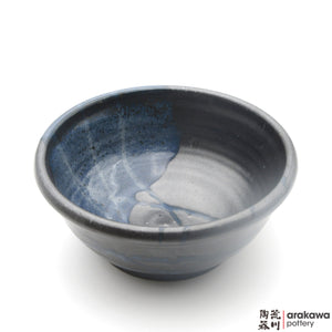 Handmade Ceramic Dinnerware: Ramen Bowl, Black & Blue Swish Glaze - 1224 - 061 made by Thomas Arakawa and Kathy Lee-Arakawa at Arakawa Pottery