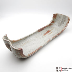 Handmade Ceramic Dinnerware: Boat Severing Bowl, Shino Glaze - 1224 - 067 made by Thomas Arakawa and Kathy Lee-Arakawa at Arakawa Pottery