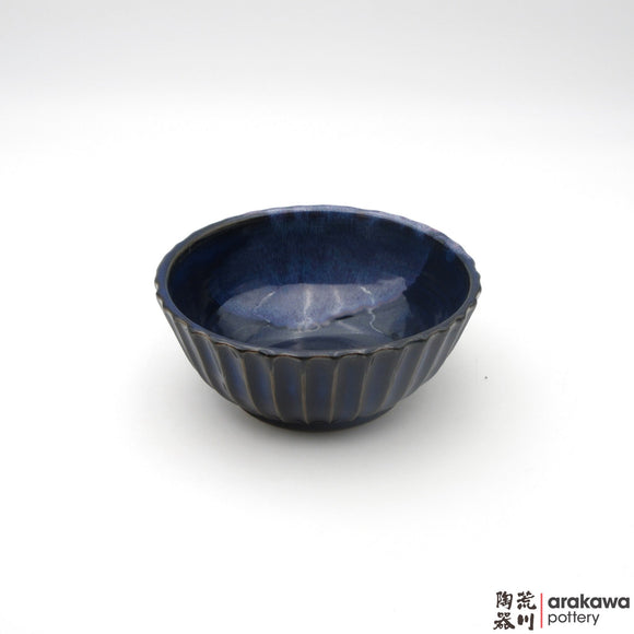 Handmade Ceramic Dinnerware: Fluted Bowl (M), Navy and Flambe Glaze - 1224 - 071 made by Thomas Arakawa and Kathy Lee-Arakawa at Arakawa Pottery