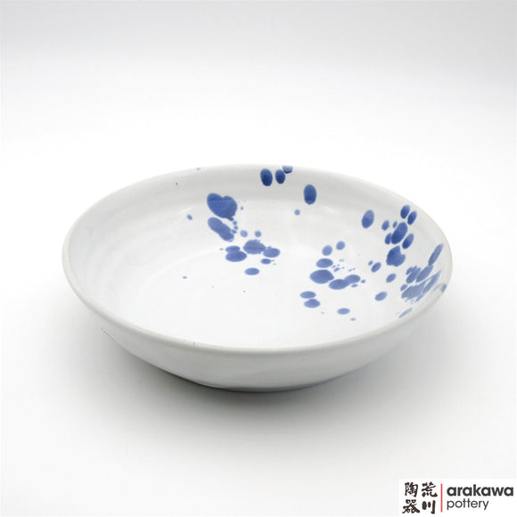 Handmade Ceramic Dinnerware: Pasta Bowl  (M), White and Blue Splash Glaze  glaze - 1224 - 081 made by Thomas Arakawa and Kathy Lee-Arakawa at Arakawa Pottery