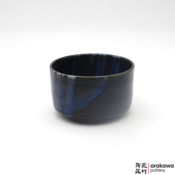 Handmade Ceramic Dinnerware: Tea Bowl, Navy and Flambe Glaze - 1224 - 093 made by Thomas Arakawa and Kathy Lee-Arakawa at Arakawa Pottery
