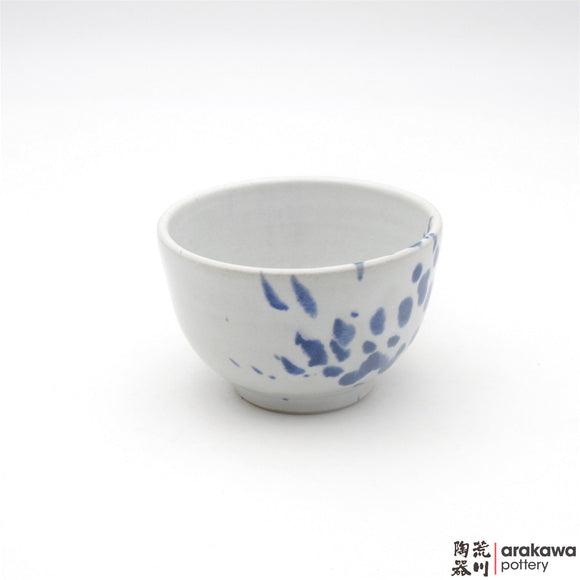 Handmade Ceramic Dinnerware: Rice Bowl , White and Blue Splash Glaze  glaze - 1224 - 106 made by Thomas Arakawa and Kathy Lee-Arakawa at Arakawa Pottery