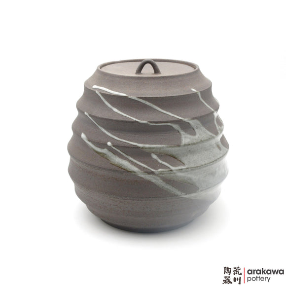 Handmade Ceramic Dinnerware: Scalloped Lidded Jar (L), Clear Swish Glaze - 1224 - 117 made by Thomas Arakawa and Kathy Lee-Arakawa at Arakawa Pottery