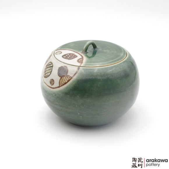 Handmade Ceramic Dinnerware: Lidded Jar (S), Oribe Glaze - 1224 - 120 made by Thomas Arakawa and Kathy Lee-Arakawa at Arakawa Pottery