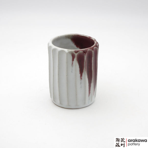 Handmade Ceramic Dinnerware: Fluted Cup, Red & White Glaze - 1224 - 121 made by Thomas Arakawa and Kathy Lee-Arakawa at Arakawa Pottery