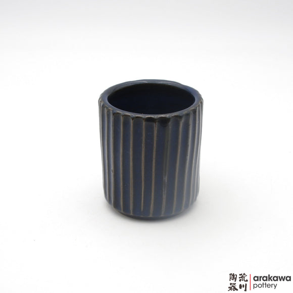 Handmade Ceramic Dinnerware: Fluted Cup, Navy and Flambe Glaze - 1224 - 122 made by Thomas Arakawa and Kathy Lee-Arakawa at Arakawa Pottery