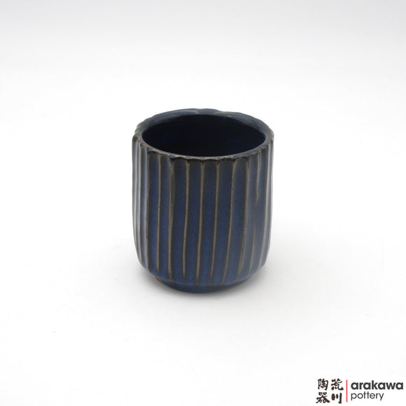 Handmade Ceramic Dinnerware: Fluted Cup, Navy Glaze - 1224 - 123 made by Thomas Arakawa and Kathy Lee-Arakawa at Arakawa Pottery