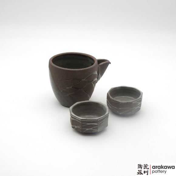 Handmade Ceramic Dinnerware: Sake Set, Clear Swish Glaze - 1224 - 132 made by Thomas Arakawa and Kathy Lee-Arakawa at Arakawa Pottery
