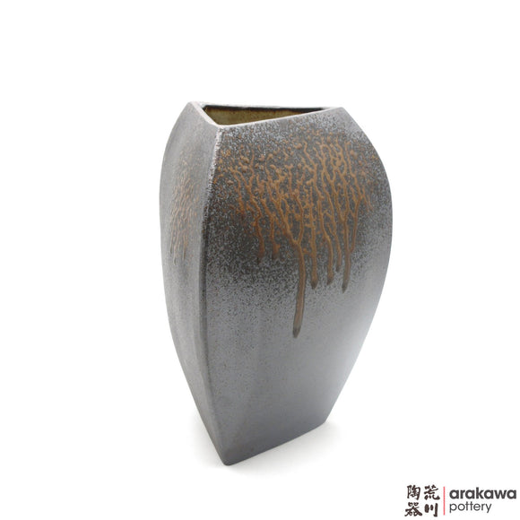 Handmade Ceramic Ikebana Container: Triangle Vase (M), Wood Ash Glaze - 1224 - 147 made by Thomas Arakawa and Kathy Lee-Arakawa at Arakawa Pottery