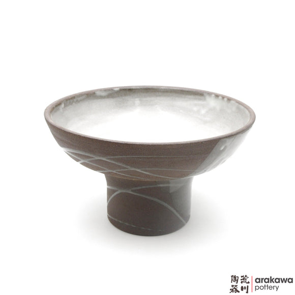 Handmade Ceramic Ikebana Container: Fusako Bowl, Clear Swish Glaze - 1224 - 152 made by Thomas Arakawa and Kathy Lee-Arakawa at Arakawa Pottery