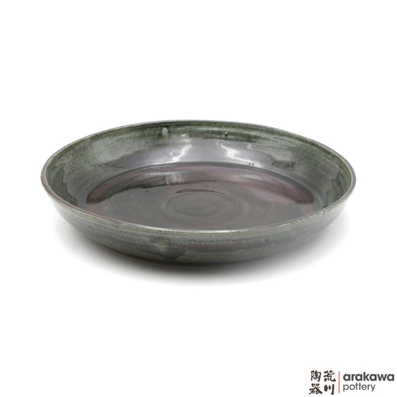 Handmade Ceramic Ikebana Container: Bowl Suiban, Green Ruster Glaze - 1224 - 163 made by Thomas Arakawa and Kathy Lee-Arakawa at Arakawa Pottery