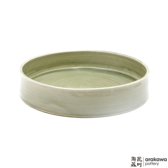 Handmade Ceramic Ikebana Container: Round Suiban, Celadon Glaze - 1224 - 169 made by Thomas Arakawa and Kathy Lee-Arakawa at Arakawa Pottery