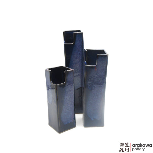 Handmade Ceramic Ikebana Container: Mini Cylinder  (L), Navy & Flambe Glaze - 1224 - 173  made by Thomas Arakawa and Kathy Lee-Arakawa at Arakawa Pottery