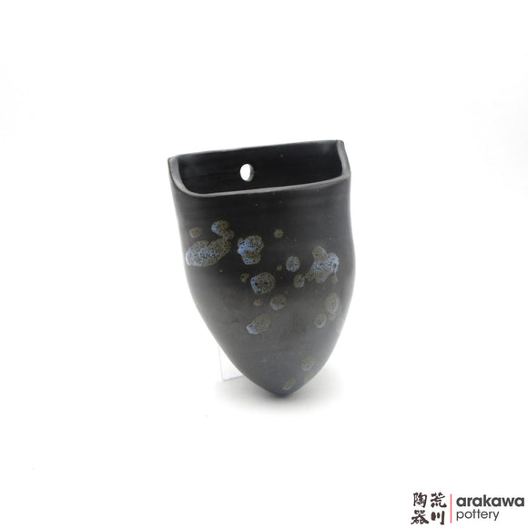 Handmade Ceramic Ikebana Container: Hanging Vase, Black & Chun Glaze - 1224 - 184 made by Thomas Arakawa and Kathy Lee-Arakawa at Arakawa Pottery