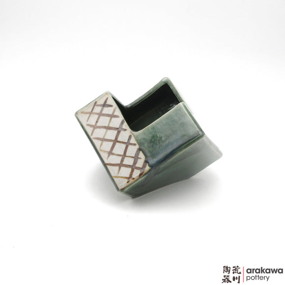 Handmade Ceramic Ikebana Container: 5 inch Ikebana Cube, Oribe Glaze - 1224 - 186 made by Thomas Arakawa and Kathy Lee-Arakawa at Arakawa Pottery