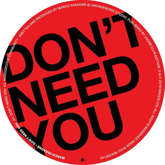 Marco FARAONE - Don't Need You