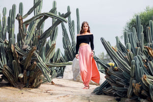 boho style dress in a cactus field.