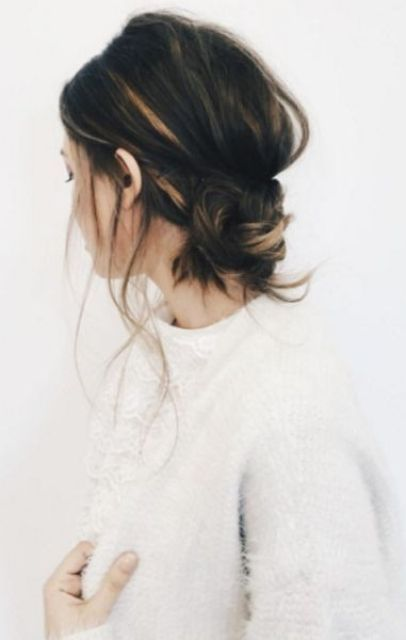 simple up do hair style to replicate when you have damaged hair that is growing