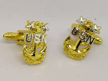 Load image into Gallery viewer, Navy Chief Anchor Cufflinks